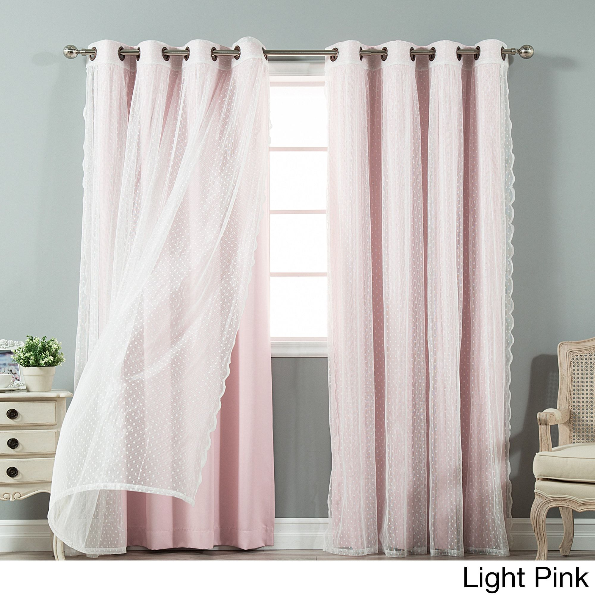 Blackout And Dot Sheer 4 Piece Curtain