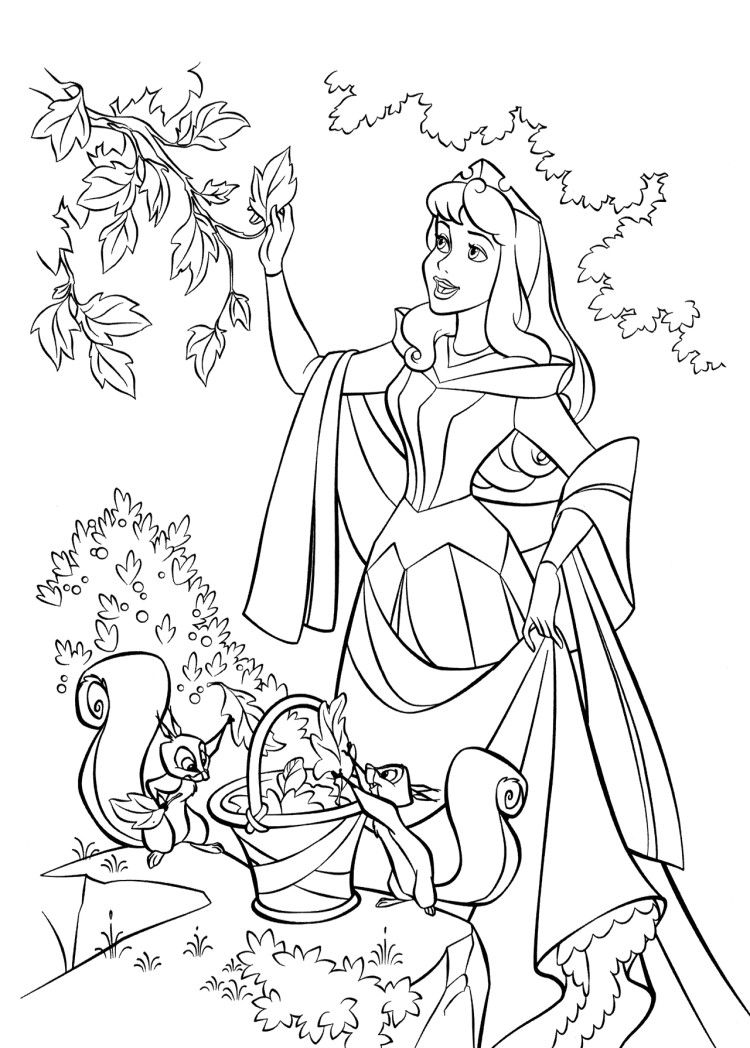 Aurora Picking Leaves Coloring Pages Princess Aurora Coloring