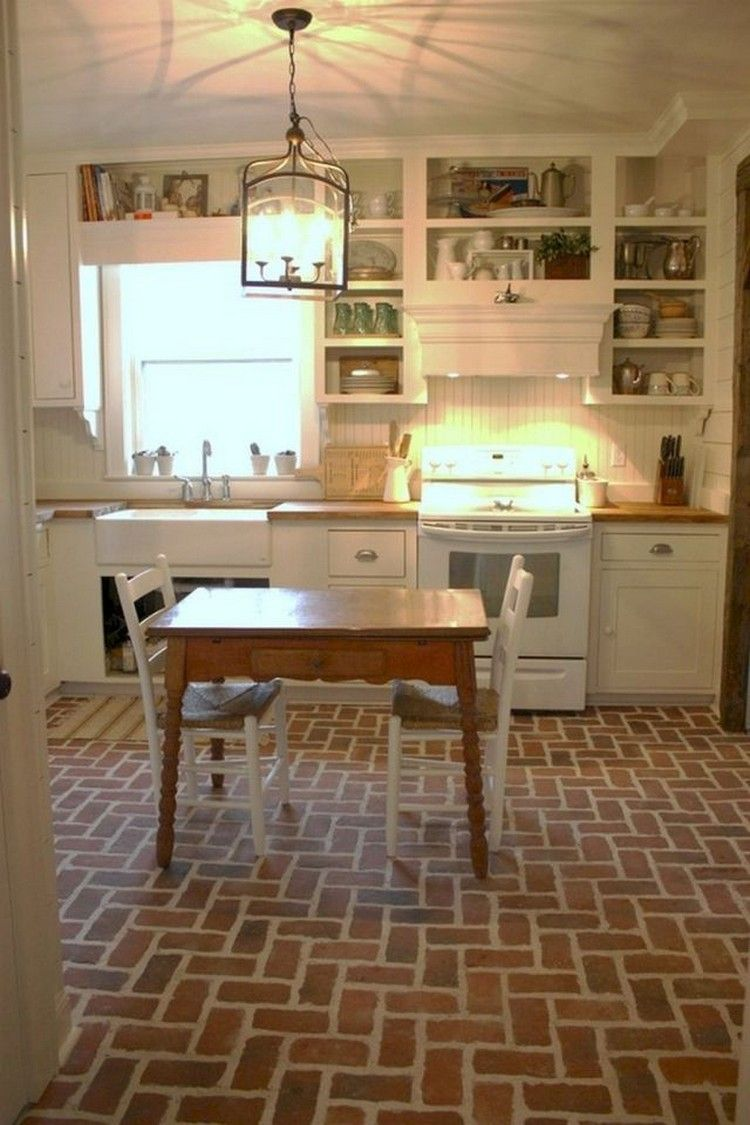 Pin By Alfianplur On Kitchen Ideas In 2019 Brick Floor Kitchen