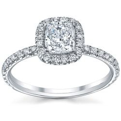Sales 18k White Gold 3/4ct TDW Engagement Ring (H SI2) online - This stunning engagement ring features a cushion-cut white diamond set in 18k white gold with round-cut diamond accents. The beautiful cocktail ring glimmers with high polished finish. Center stone Diamond: One Center...