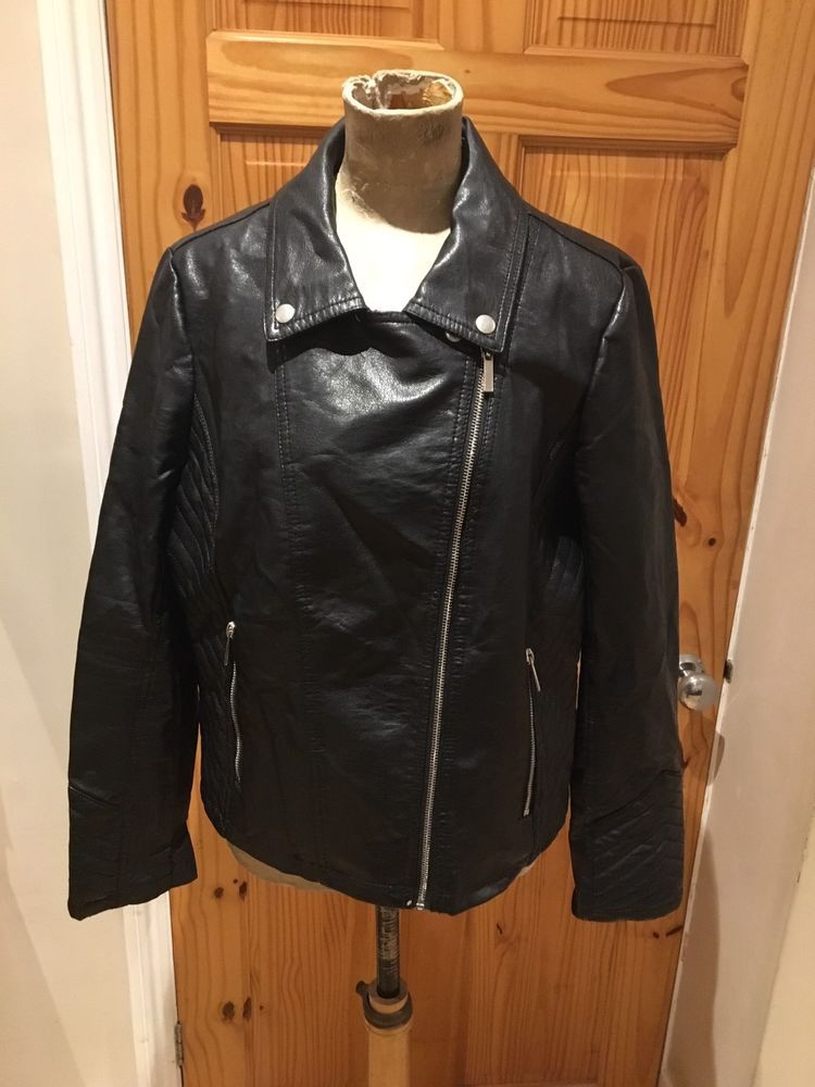 b287d7a96ae Womens Jacket Size 16 By Jane Norman Black Faux Leather Biker Smart Casual   fashion  clothing  shoes  accessories  womensclothing  coatsjacketsvests  (ebay ...