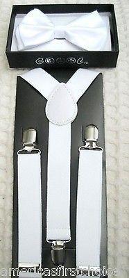 Kids Teens White Adjustable Bow Tie & White Adjustable Suspenders Combo Set-New!