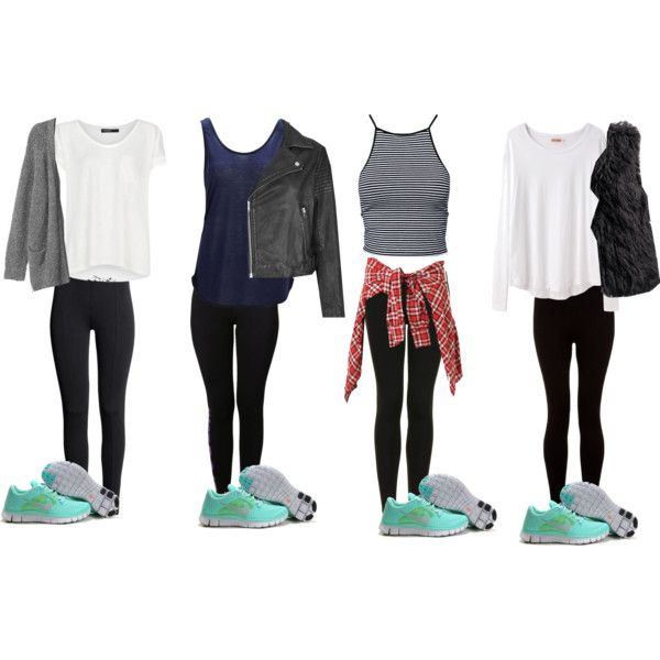What To Wear: Mint Nike Free Run/Black Leggings by samsus on Polyvore  featuring