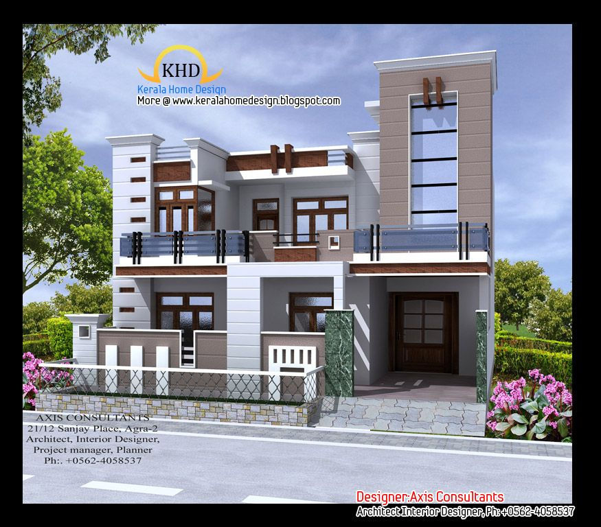 Front elevation indian house designs houses pinterest for Contemporary indian house elevations