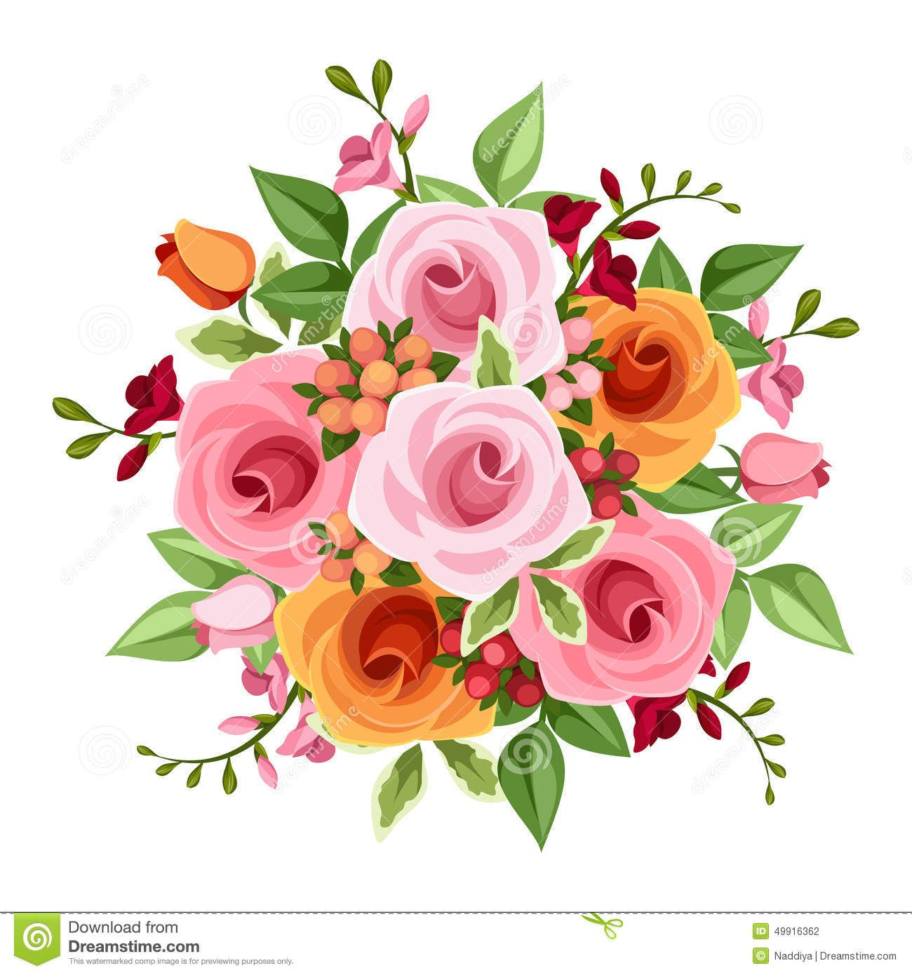 Bouquet roses freesia flowers vector illustration pink orange green photo about vector bouquet of pink and orange roses and freesia flowers and green leaves on a white background izmirmasajfo