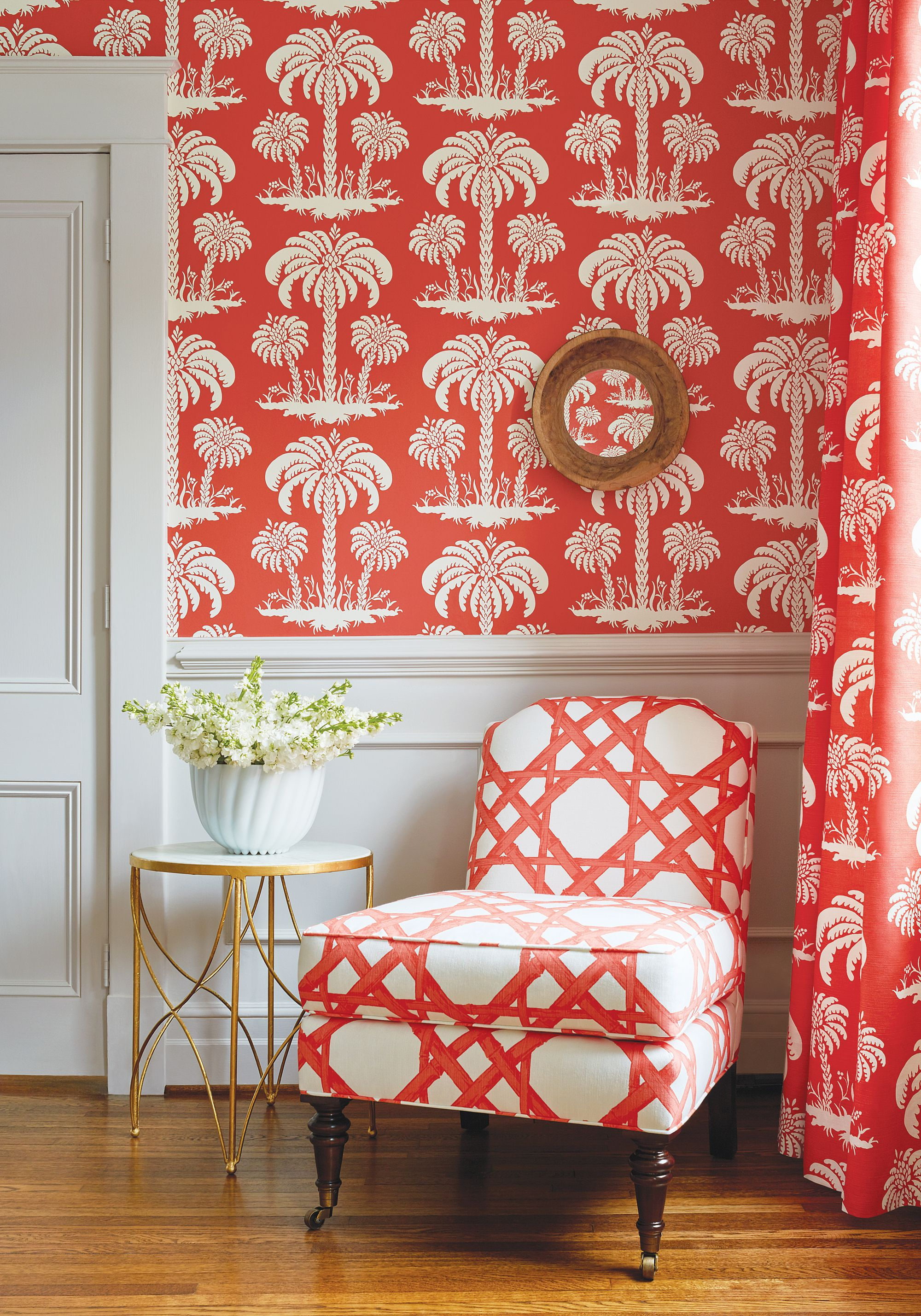 charlotte chair in cyrus cane printed fabric in coral from thibaut rh pinterest com