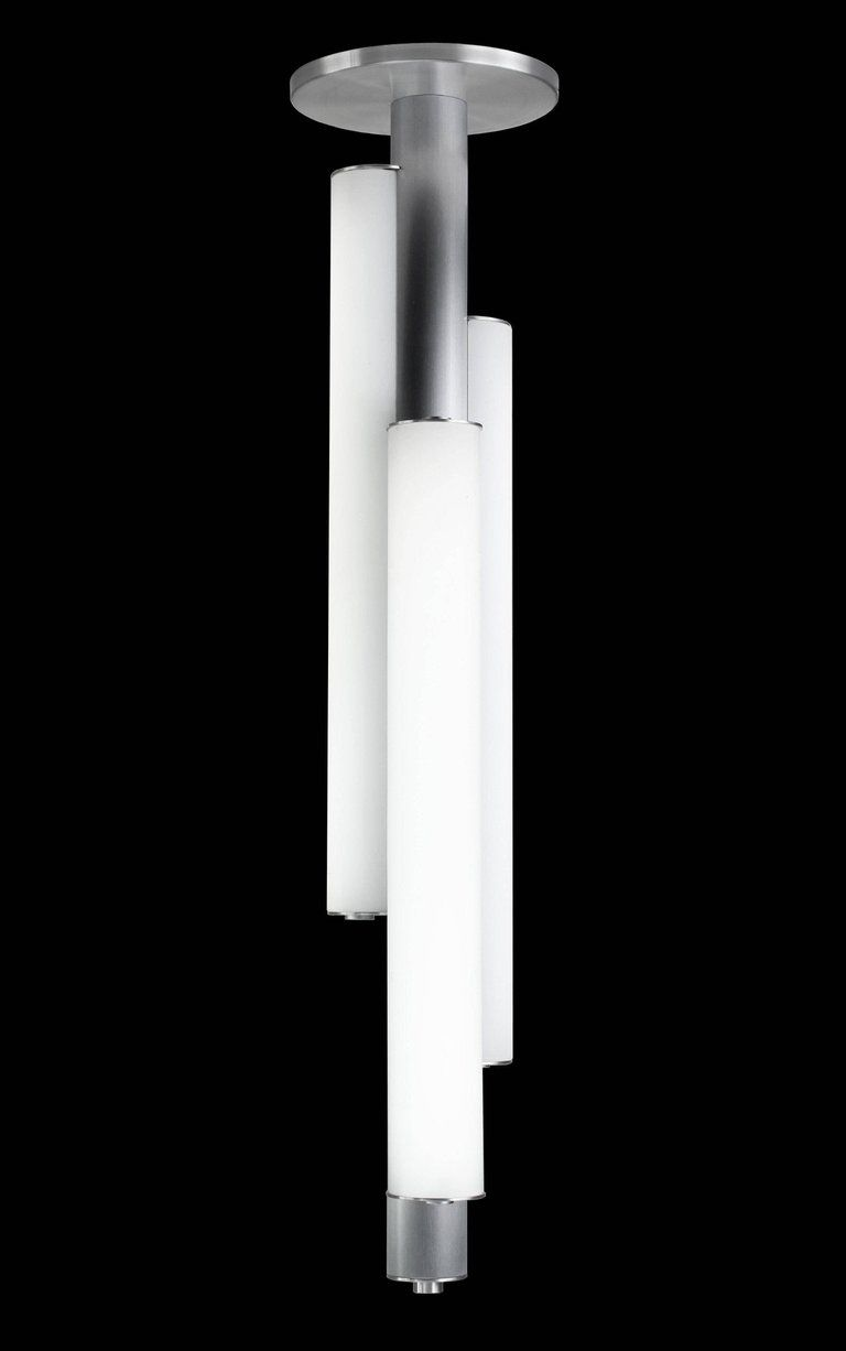 In The Manner Of Art Deco Triple White Glass Cylinder Ceiling
