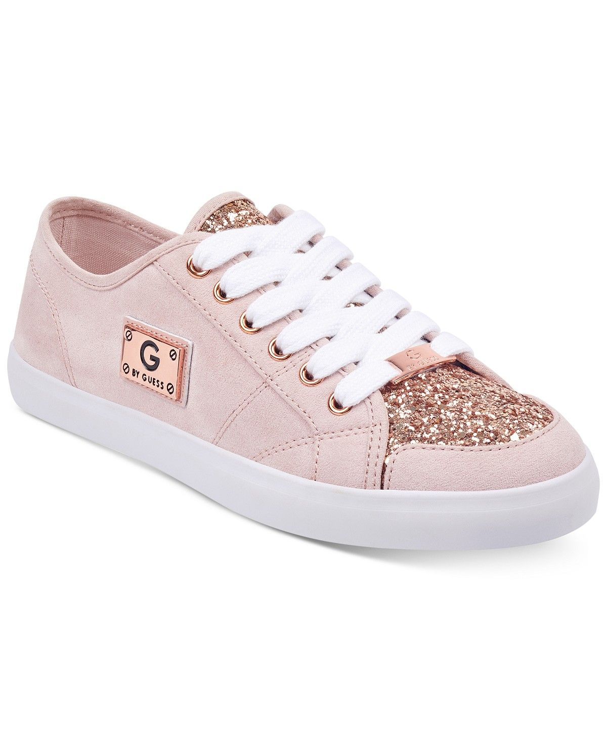 8e3884b0f106 G by GUESS Matrix Glitter Lace Up Sneakers available in pink, light blue,  black and white. For only $59, you can add a little sparkle to your spring  ...