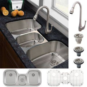 Ticor Stainless Steel Triple-Bowl Kitchen Sink and Brushed Nickel Faucet  Combo