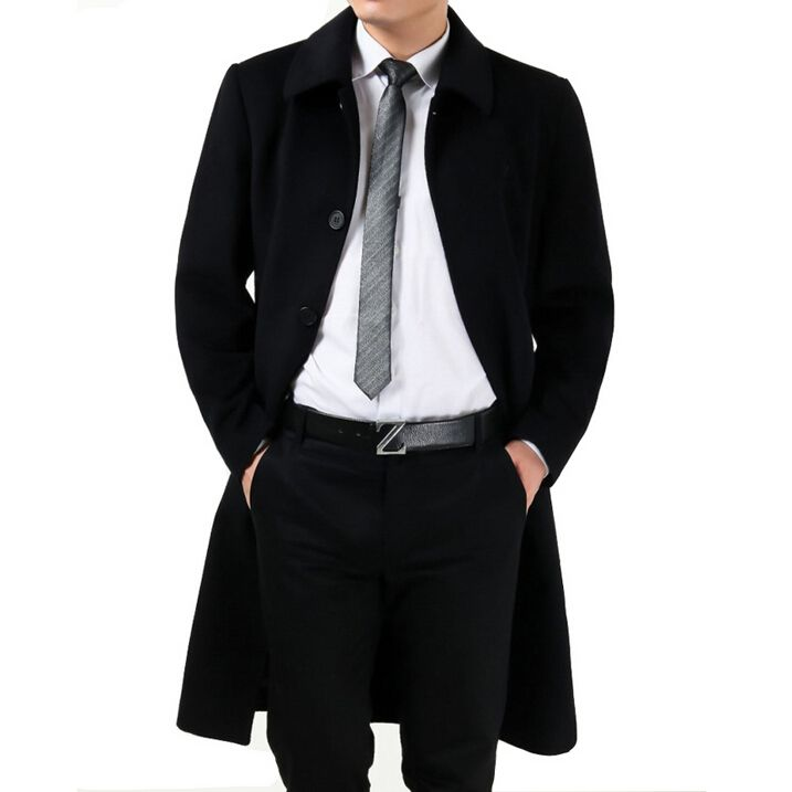 2015 New wool coat mens Long trench coat jacket plus size ...