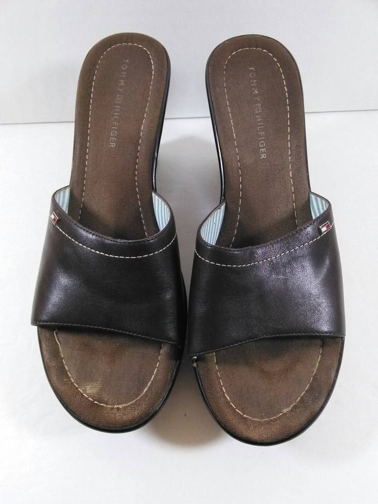 Tommy Hilfiger Brown Peep Toe Backless Wedge Heel Slides Shoes Size 9M GUC #TommyHilfiger #PlatformsWedges #Casual