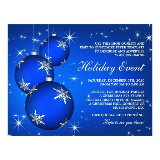 Festive Blue Silver Holiday Party And Event Flyer Event Flyers