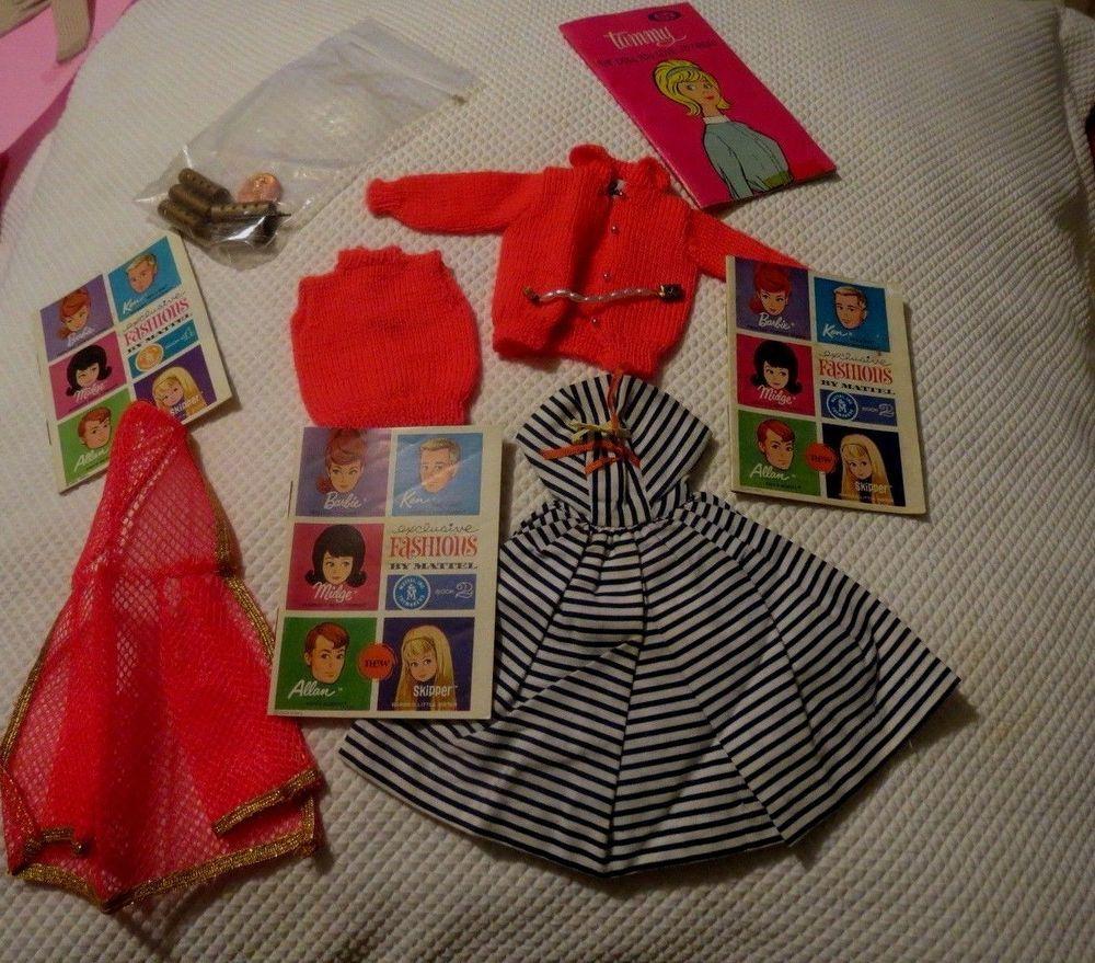 Lot Of Original Mattel Vintage Barbie 1960's Clothing necklace Accessories lot #Mattel