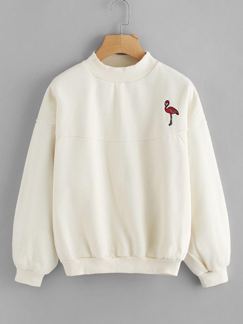 5a9e7652a1 Flamingo Embroidered SweatshirtFor Women-romwe