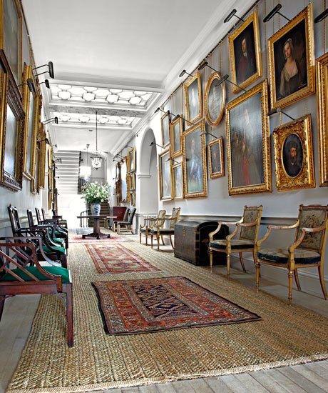 rush matting in portrait hall.