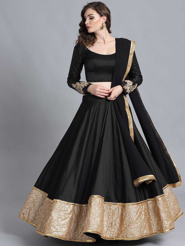 Bollywood Vogue Black Sequinned Made To Measure Umbrella Lehenga Blouse With Dupatta Lehenga Indian Outfits Lehenga Black And Gold Lehenga Simple Lehenga