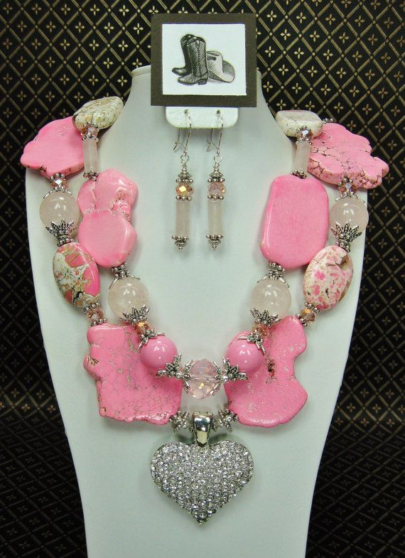 Pink Turquoise Chunky Western Style Cowgirl Statement