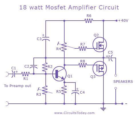 18 watt mosfet amplifier circuit
