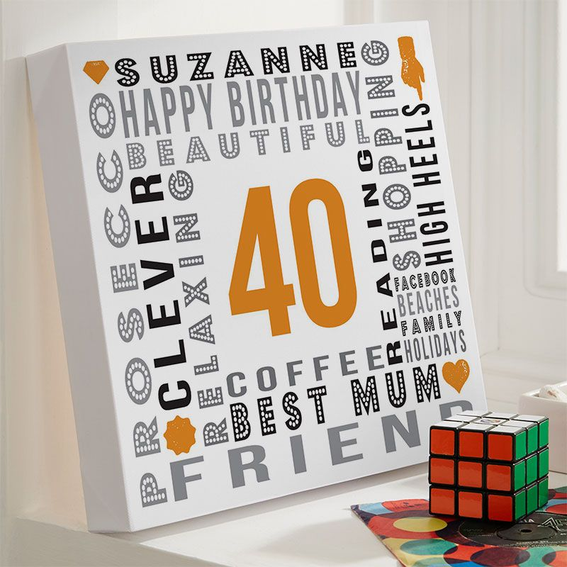 40th Birthday Gift For Her Of Personalised Age Square