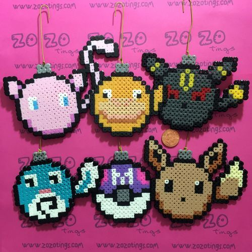 Pokemon Set 2 Christmas Pixel Baubles