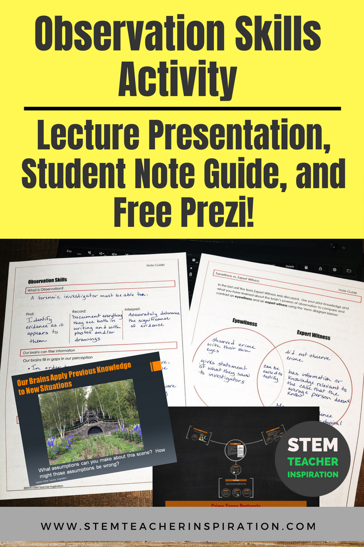 Forensics Observation Skills Lecture Presentation Activity Note Guide Forensics Forensic Science Science Curriculum