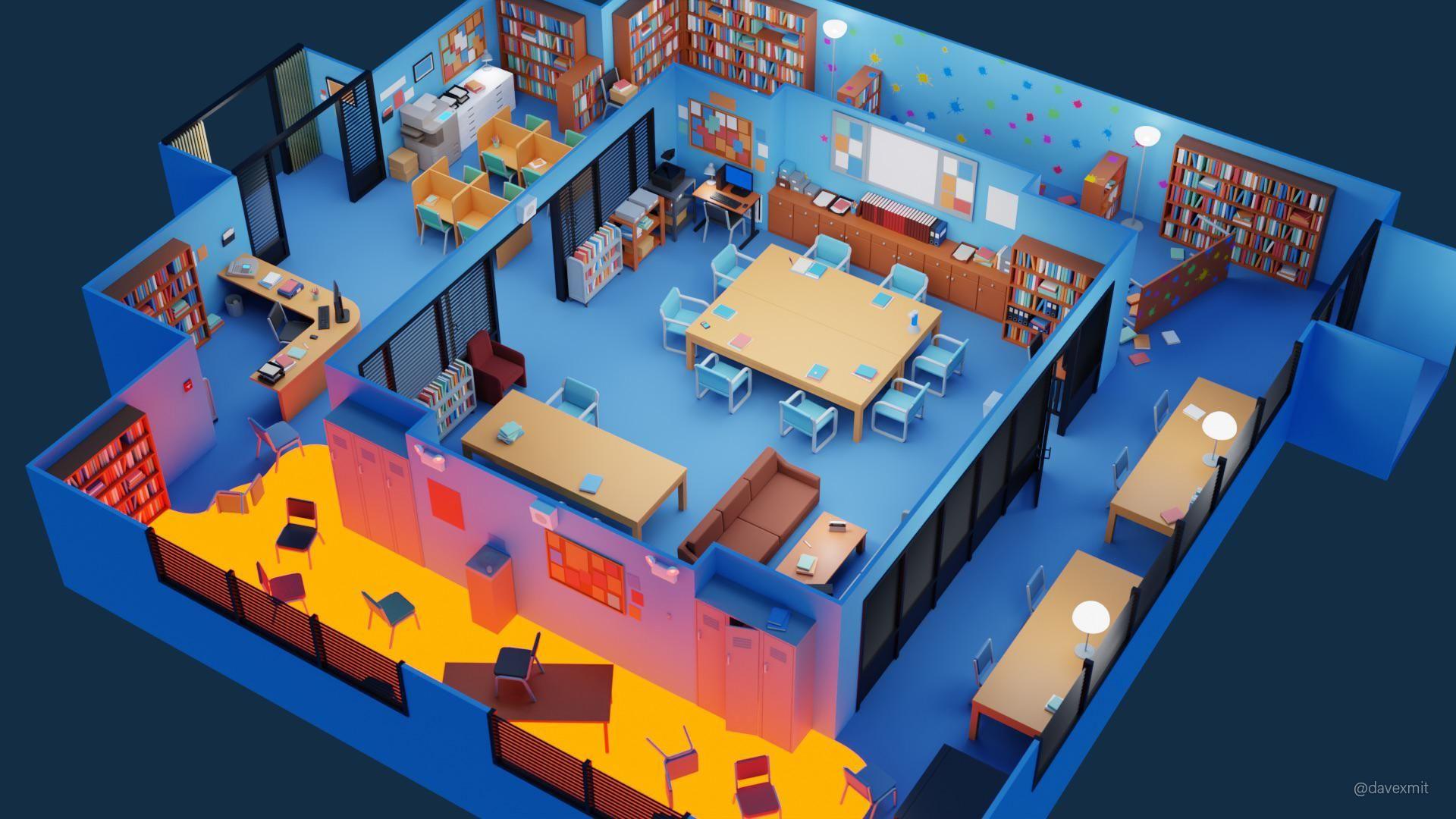 I created a community tv show set low poly diorama