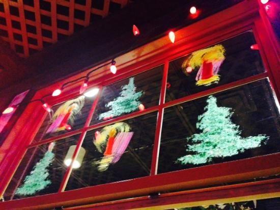Christmas window decoration at Tavern United Brandon  |  1125 18th Street, Brandon, Manitoba