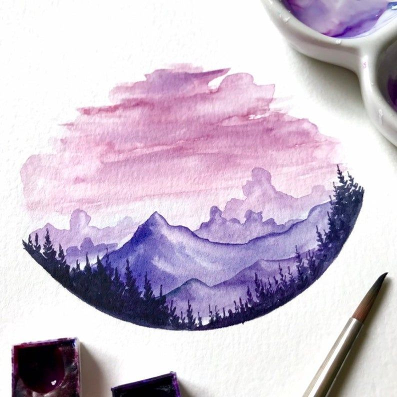 Original Watercolor Painting Handmade Sunset Painting Mountains