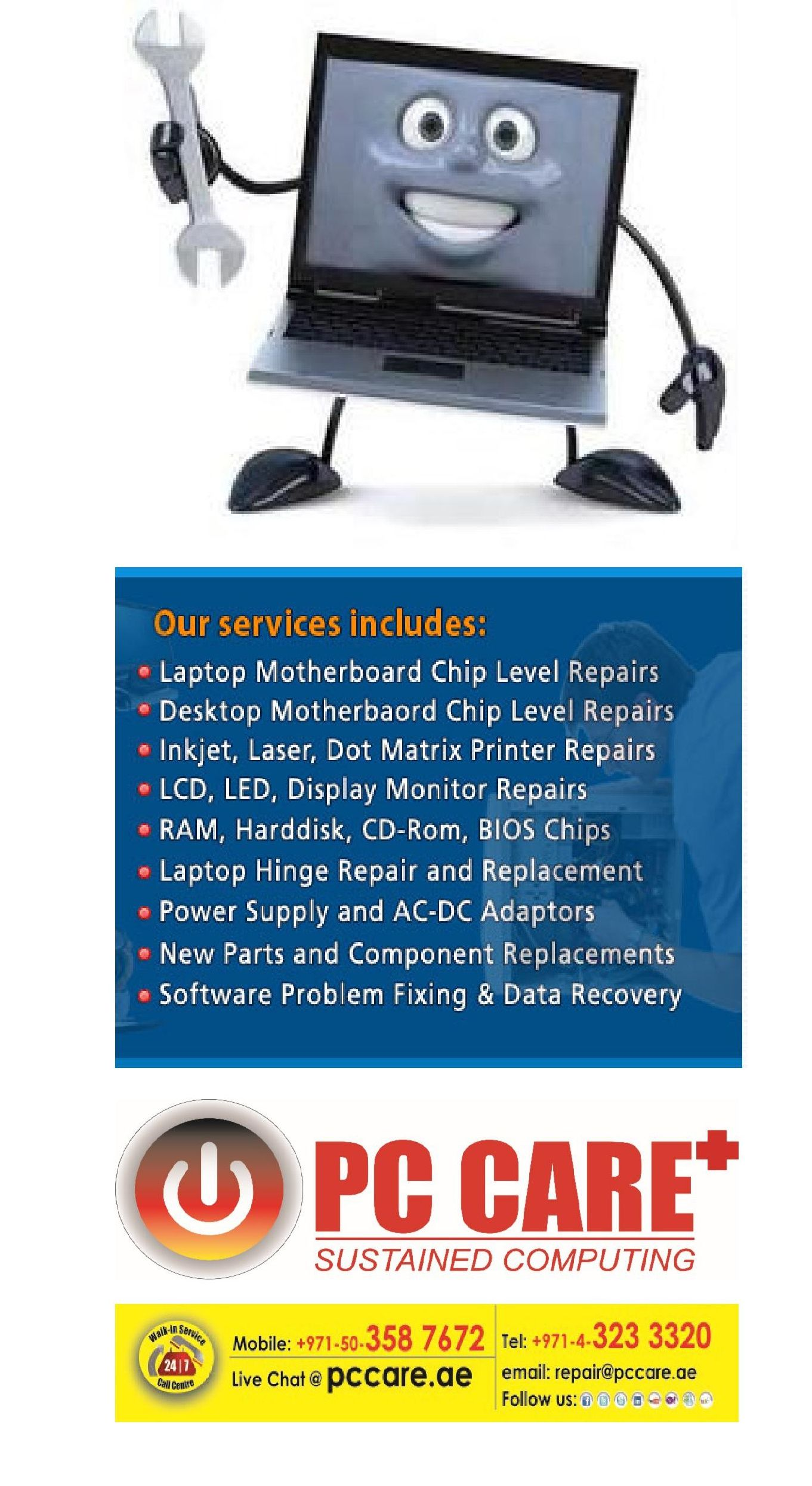 Want Onsite Computer & Laptop Repairs In Dubai  Whether you