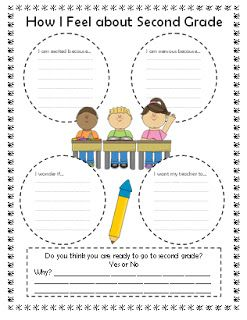 "Field Trip to Second Grade!  ""How I Feel about Second Grade"", one of many cute worksheets!"