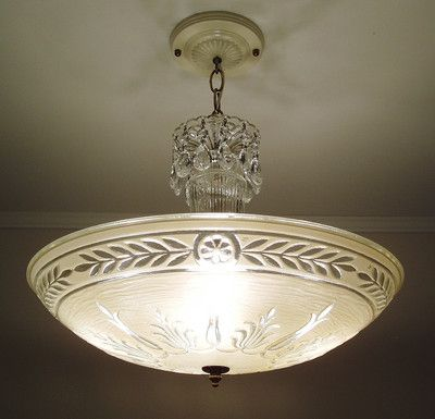 Restored Antique 1930s Vintage Art Deco Glass Ceiling Light