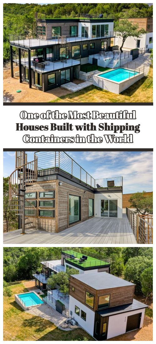 We've seen some quirky homes, but this one may just take the cake. Made entirely from shipping containers, this home overlooking Lake Travis is absolutely beautiful.  #shippingcontainerhomes #shippingcontainercabin #containerhouse #containerhousedesign #containerbuildings
