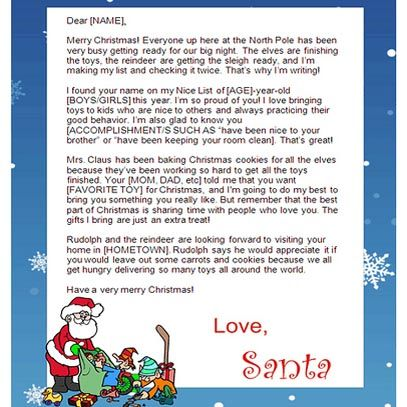Free Letters From Santa Claus Template  Card Making