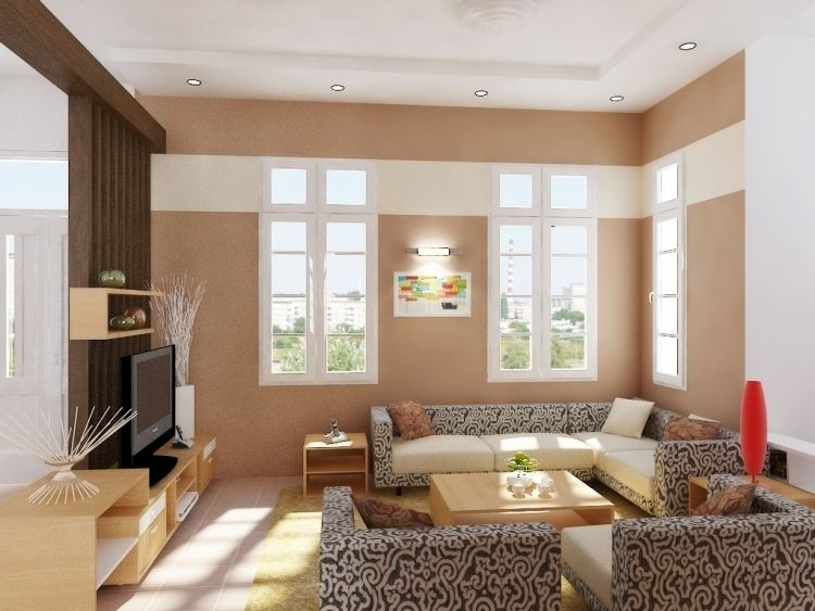 Feng Shui Wohnzimmer Einrichten  Modern Muster Polster Beige  Fenster Ferneseher Couchtisch