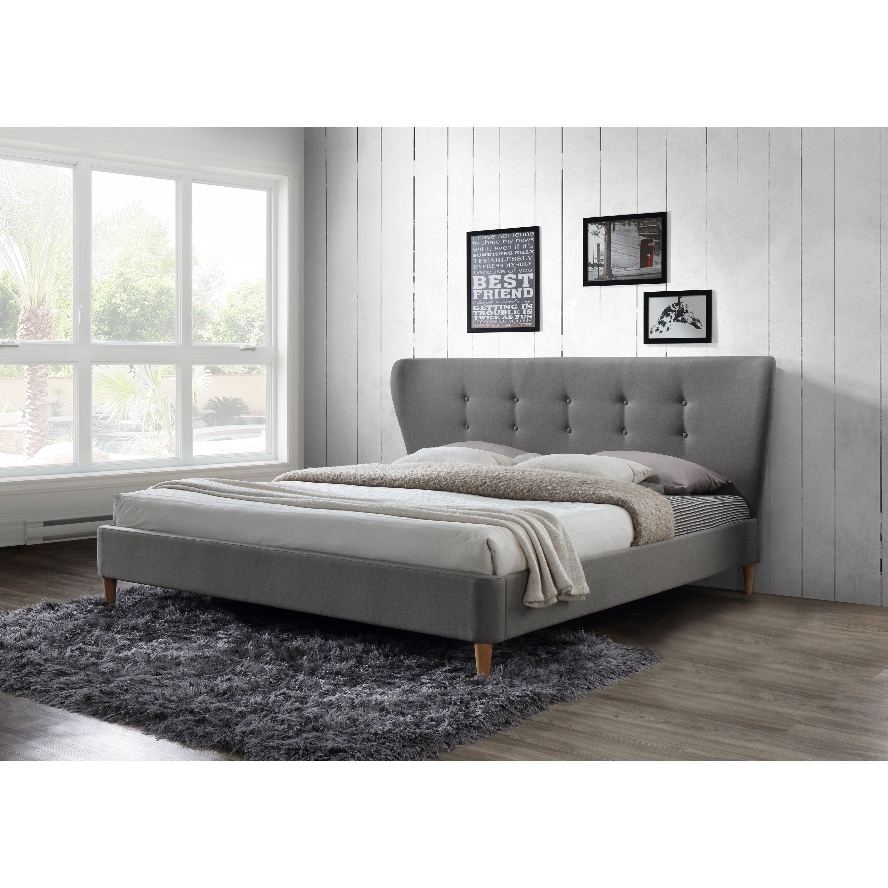 Dayton Tufted Light Grey Upholstered King Platform Bed (King Bed