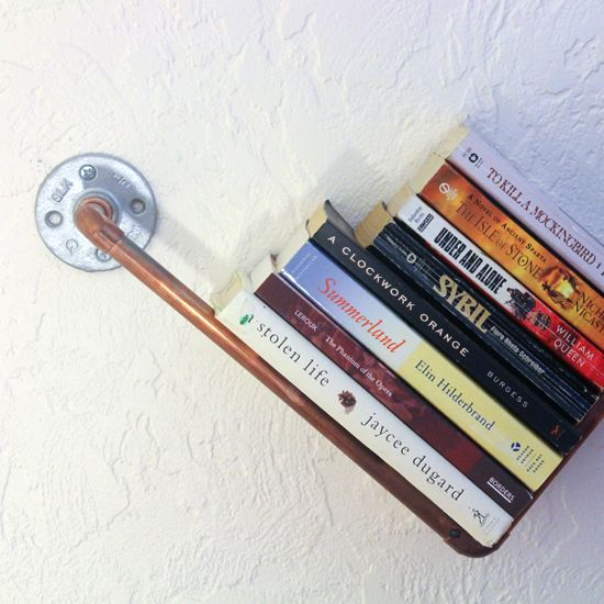 Pipe Bookshelf Gather your supplies for this rustic, industrial shelf at the home supply store and you'll be ready to build yourself a shelf. submitted to InspirationDIY.com @todayscreative #inspirationdiy