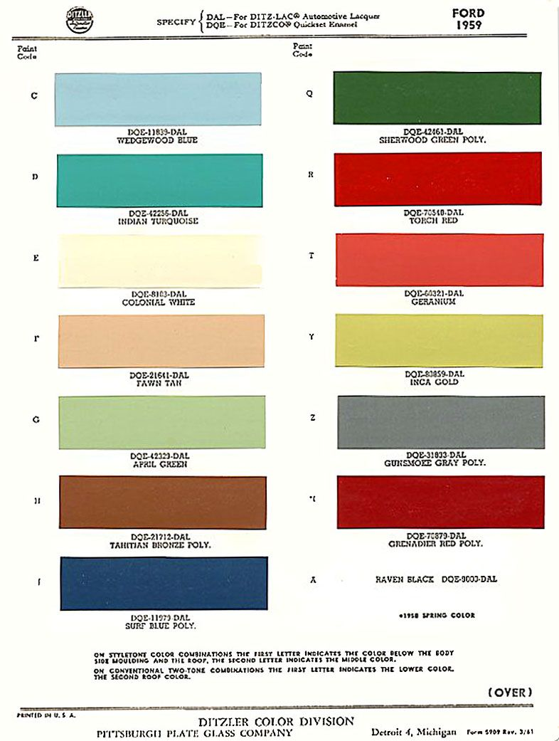 A 1959 Ford Exterior Paint Chip Color Chart