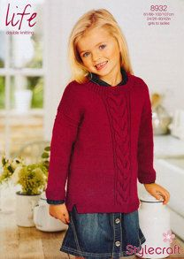 835190ce8cf67 Girl s Cable Jumper in Stylecraft Life DK - 8932