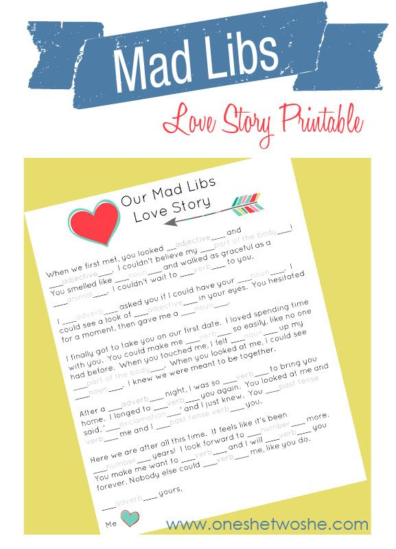 Our Mad Libs Love Story ~ Free Printable (and laughs!) www.oneshetwoshe.com #valentines #printables