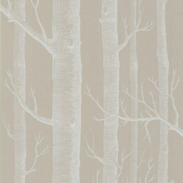 Papier peint woods motifs blancs taupe et papier peint - Papier peint motif arbres ...