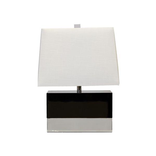 World Away Black Lacquer Rectangular Lamp With Nickel Base And White Rectangular Shade Foley Bln Lamp Rectangular Table Lamp Rectangular Lamp Shades