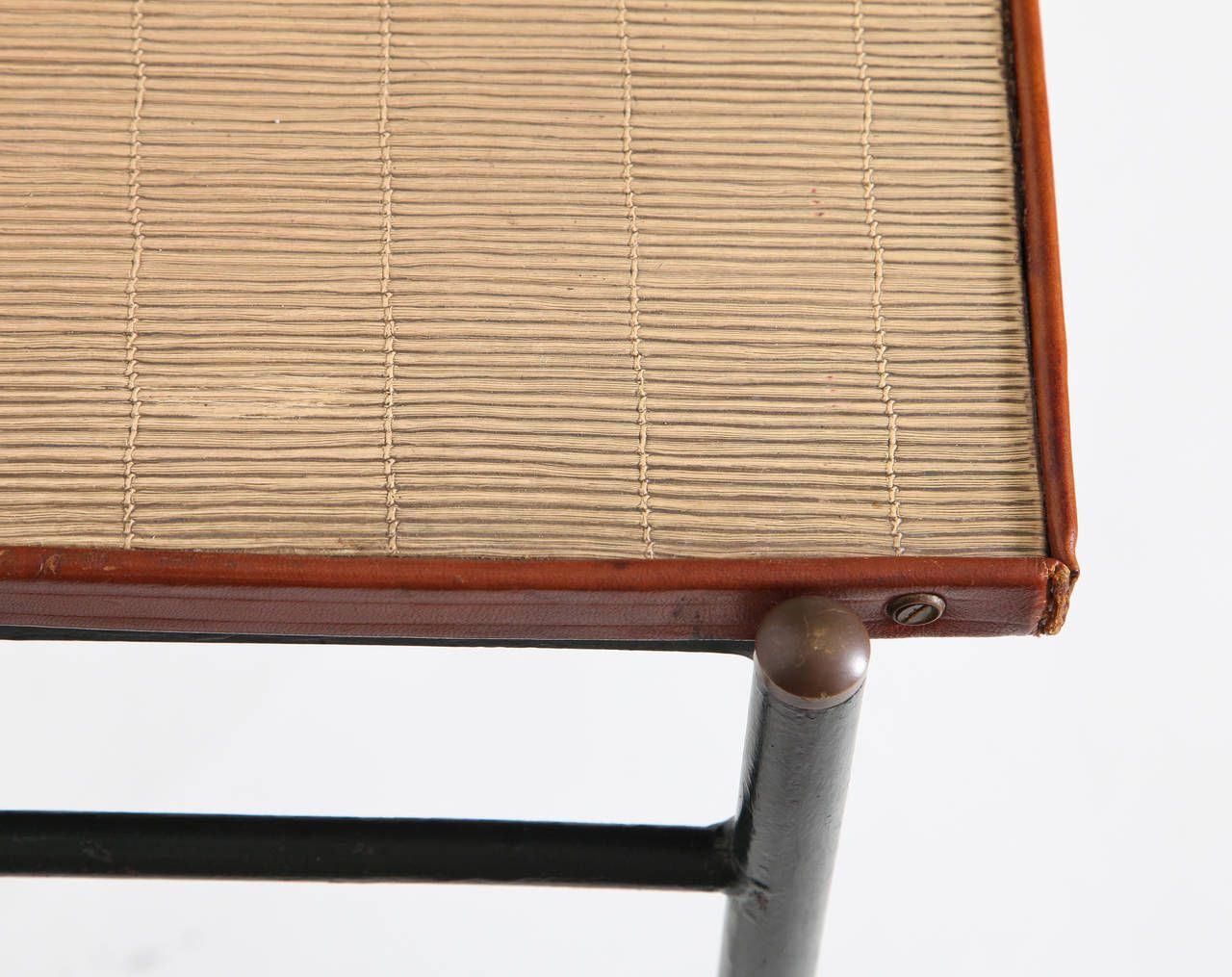 Leather and Rattan Desk by Jacques Adnet 7
