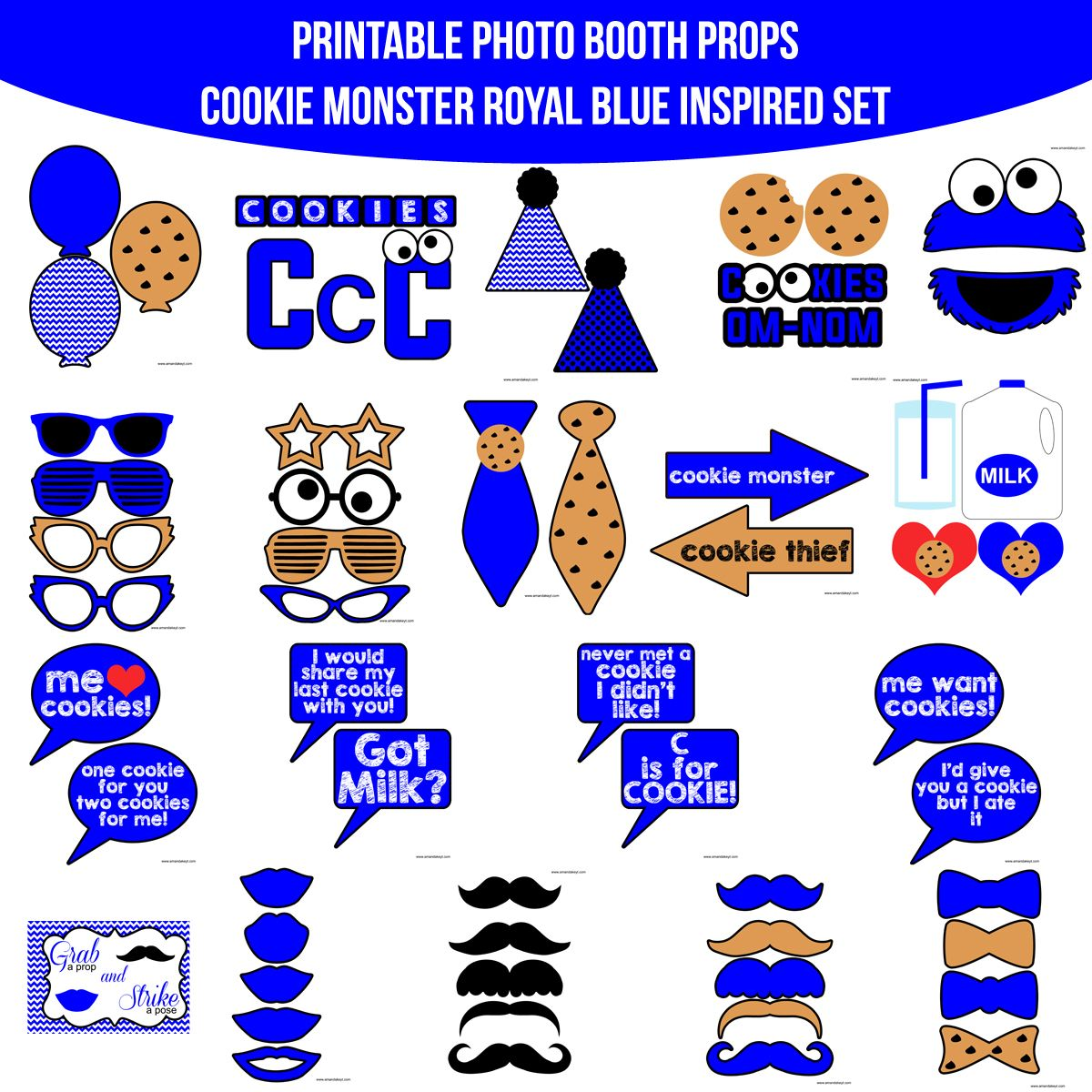 Instant Download Royal Blue Cookie Monster Inspired Printable Photo Booth Prop Set — Amanda Keyt DIY Photo Booth Props & More!