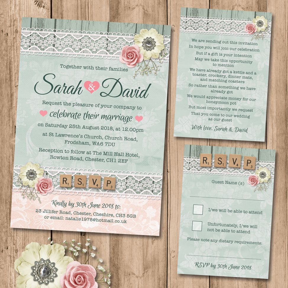 Rustic Rose Lace Wedding Invitation Set includes; Wedding Invite ...