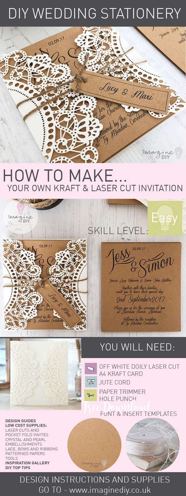 How to makerustic kraft and laser cut invitation with tag