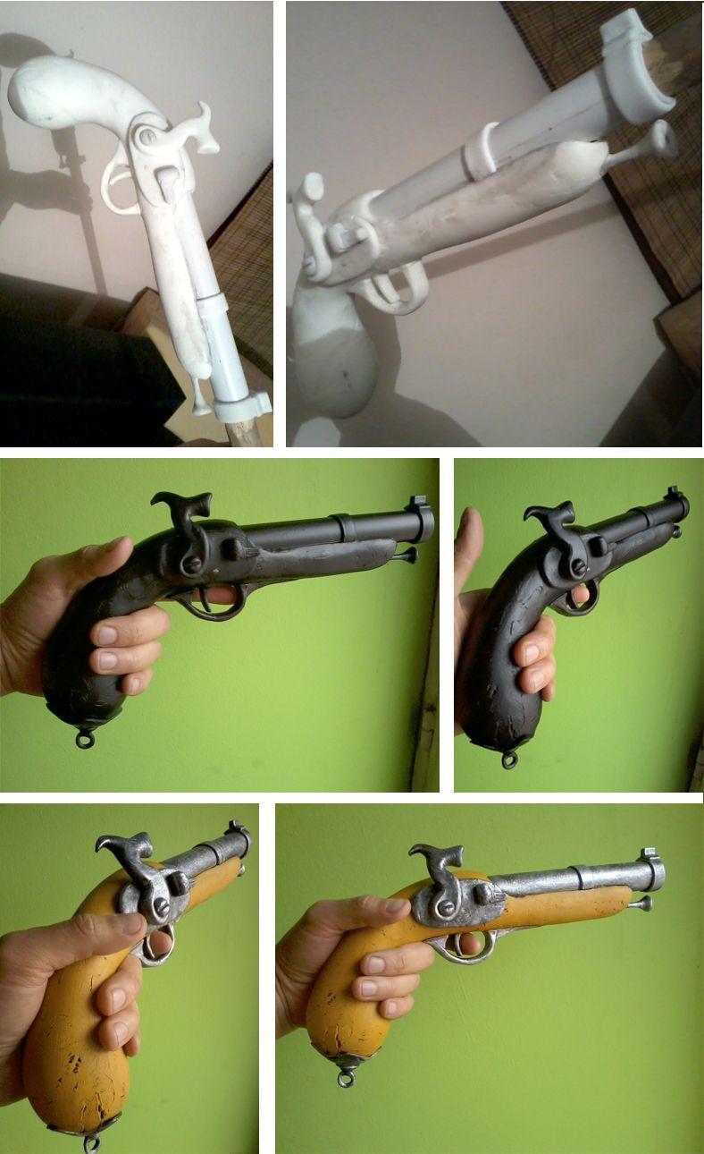 Pistola pirata, la modelé en porcelanicrón y utilice un tubo de PVC ...