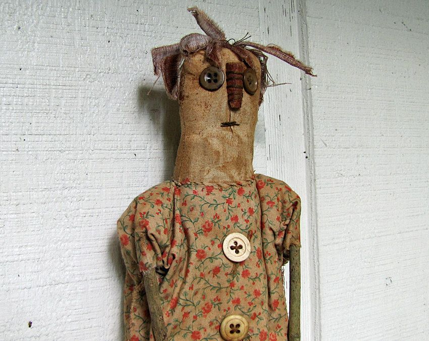 Primitive Doll - Folk Art Doll - Primitives - Handmade Primitive Doll - Collectible Doll. $18.25, via Etsy.