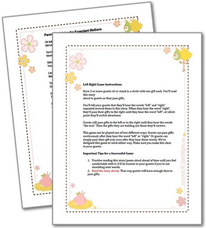 Play Right Left Baby Shower Game Right Left Baby Shower Game Is Kind Of Old  Games