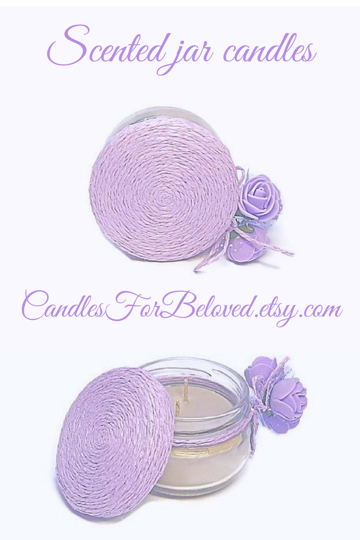 Lavender Scented Candle Wedding Favors For Quests Purple Flower ...