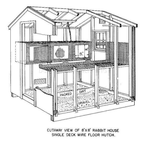 rabbit barn blueprints plans house hutch shelter shed single double deck cage backyard farm ranch plywood